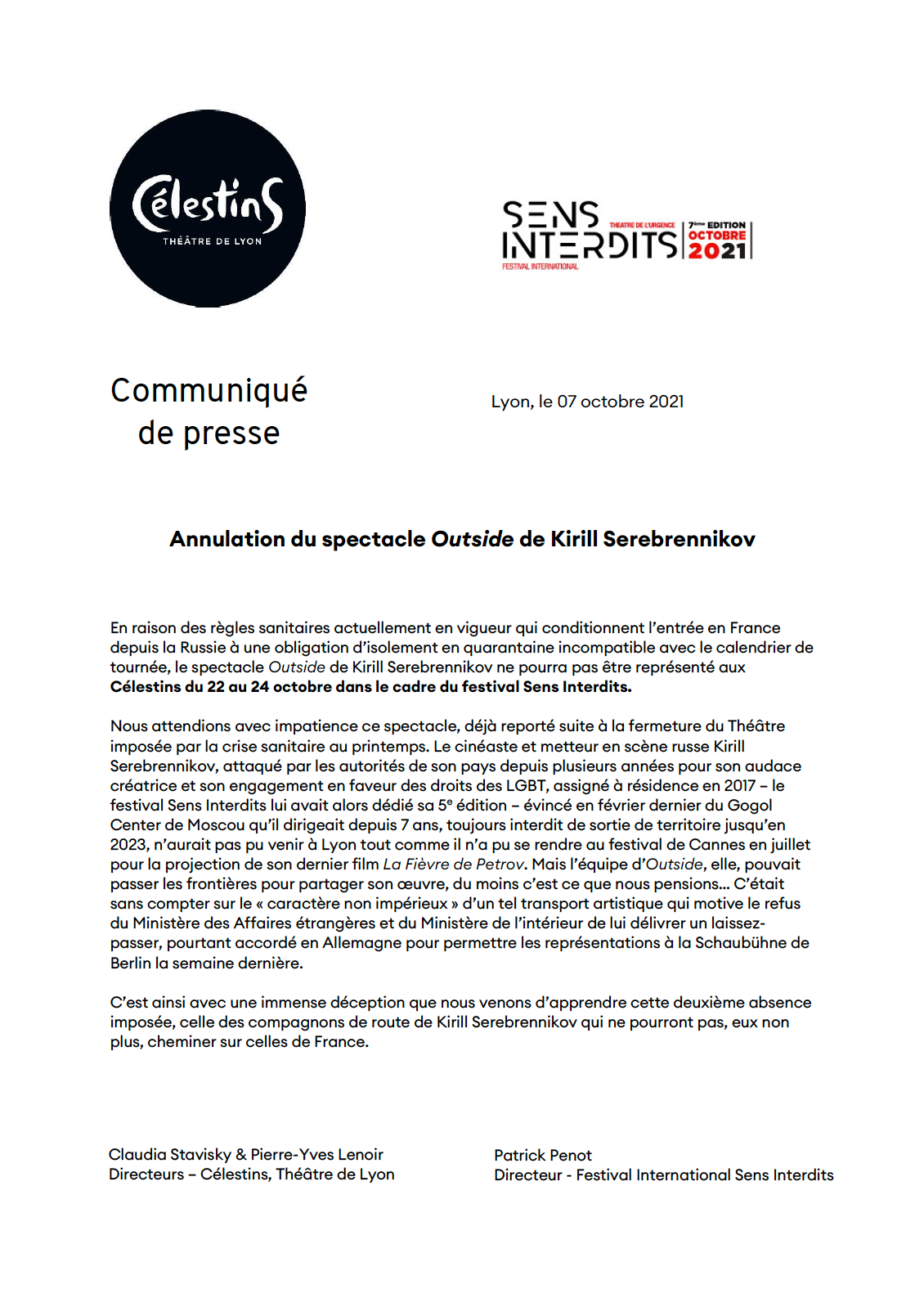 Annulation du spectacle Outside